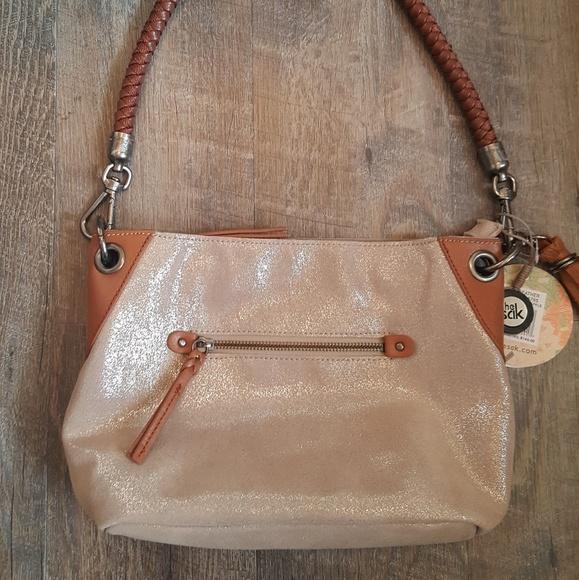 The Sak Handbags - New The Sak Indio Leather Nude Sparkle Bag NWT
